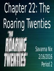 Chapter 22- Roaring Twenties