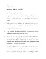 CH 1 -NOTES Intro to Corporate Finance