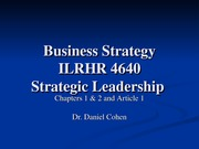 ILRHR4640 Lecture 1- Strategic Leadership