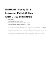 MATH 241 Spring 2014 Midterm 2 Solutions