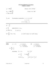 College Physics Transition Waves class formula notes