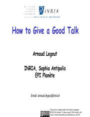 How to Give a Good Talk