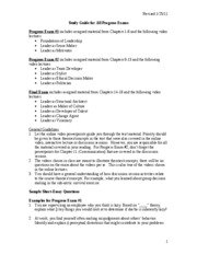 Progress Exam Study Guide Fall 2011