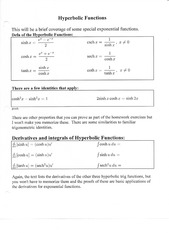Hyperbolic Function Notes