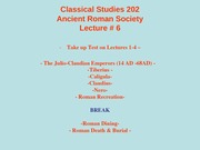 Classical Studies 202 Lecture 6a