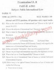 Past Papers 2011 LLB Part 2 Public International Law Paper 6