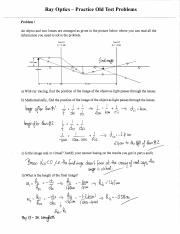 Practice Problems (Ray Optics) Physics 13 Lehigh
