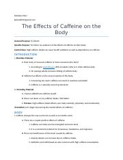 Sample informative speech outline on caffeine