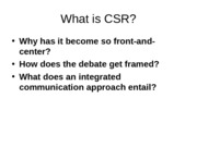 Making CSR more relevant and effective