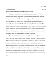 Over There Song Essay