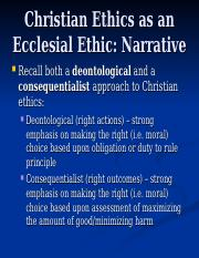Christian Ethics as an Ecclesial Ethic - Narrative.ppt