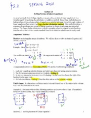solving systems of linear equations notes
