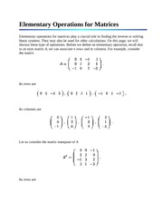 Elementary Operations for Matrices