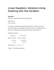 Linear Equations- Solutions Using Graphing with Two Variables
