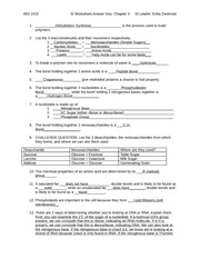 Chemical building blocks of life Worksheet Answers