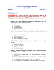 Human Resource Development - HRM627 Fall 2007 Assignment 02