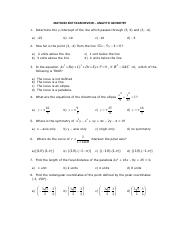 MATH23X EXIT EXAM REVIEW MATERIAL - ANALYTIC GEOMETRY PART 1
