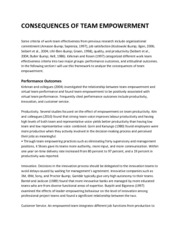 CONSEQUENCES OF TEAM EMPOWERMENT (Research work)
