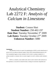 Analysis of Calcium in Limestone