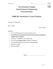 F2009 Exam ENME599 Final