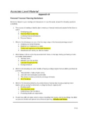 Week 1 Personal Financial Planning Worksheet