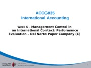 Week 5 - Management control in an international context - Del Norte C