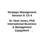 Session 9. Ch 9 Strategic Management