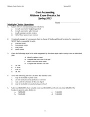 Cost Accounting Midterm Exam-Practice Set SP 2015-ST