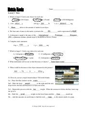 metric_Masswkst - Name Anna Howell Lesson 2 Mass 1 Which ...
