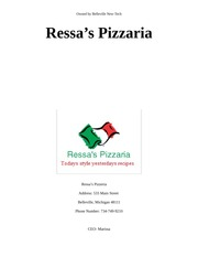Ressa pizzeria research proposal