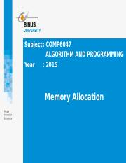 Z00810010220144070COMP6047[T] Pert 25 - Memory Allocation.pptx