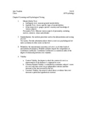CHapter 9 - Learning and Psychological Testing (1-4)