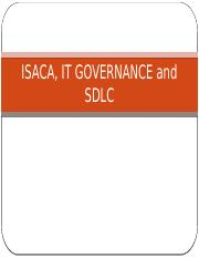 ISACA, IT GOVERNANCE and SDLC