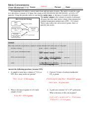 11-3 Mole Conversions Answers - Mole Conversions Answers Chem ...
