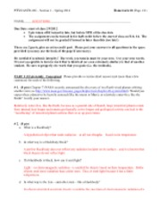 astr ptys 206 exam1 review Ptys/astr 206 section 2 spring 2007 homework #2 (page 1/5) name: due date: start of class 2/6/2007 5 pts extra credit if turned in before 9:00am (early) ex1241asp07doc - chem arizona chemistry 241a exam 1 dollinger february 2, 2007 1.