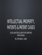 Lecture 3 - Intellectual Property, Patents  Patent Cases.pptx