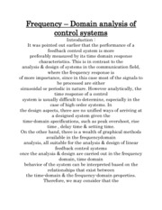 Frequency – Domain analysis of control systems