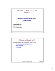 Lecture Notes on Integers, Applications, base conversions. Mathematical induction