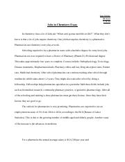 Jobs in Chemistry Essay