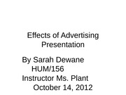 Effects of Advertising Presentation