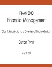 1. Introduction and Overview of Finance (presented)