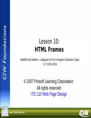 UNIT VI - LESSON 10 HTML FRAMES.ppt