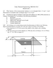 Hw2 Solar Thermal Engineering Mecee 4312 Homework 2 112 An