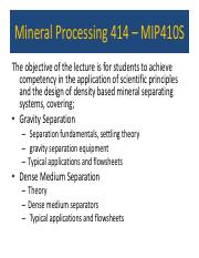 Mineral Processing - Density based separation