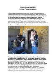Class 1 - Intro to Photojournalism