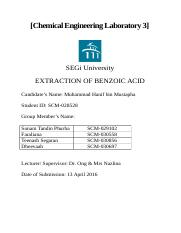LAB 5 EXTRACTION OF BENZOIC ACID