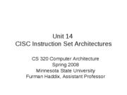 CS 320 Unit 14 CISC Architectures