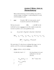 Lecture 5 Notes Intro to Thermochemistry