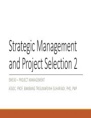 Strategic Management and Project Selection 2