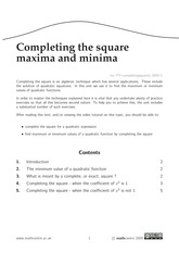 Completing the square - maxima and minima